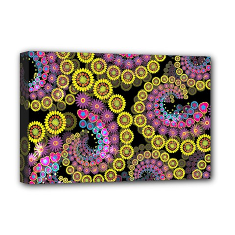 Spiral Floral Fractal Flower Star Sunflower Purple Yellow Deluxe Canvas 18  X 12   by Mariart
