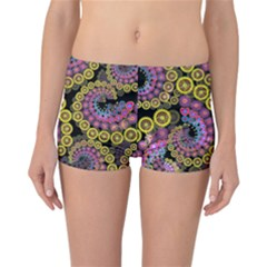Spiral Floral Fractal Flower Star Sunflower Purple Yellow Reversible Boyleg Bikini Bottoms by Mariart