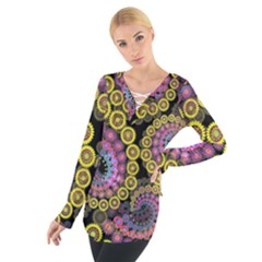 Spiral Floral Fractal Flower Star Sunflower Purple Yellow Women s Tie Up Tee by Mariart