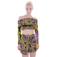 Spiral Floral Fractal Flower Star Sunflower Purple Yellow Off Shoulder Top With Skirt Set by Mariart