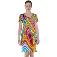 Rainbow Gnarls Short Sleeve Nightdress by WolfepawFractals