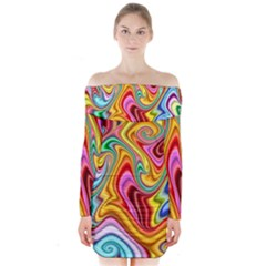 Rainbow Gnarls Long Sleeve Off Shoulder Dress by WolfepawFractals