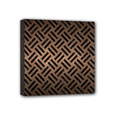 Woven2 Black Marble & Bronze Metal (r) Mini Canvas 4  X 4  (stretched) by trendistuff