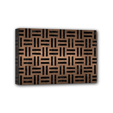 Woven1 Black Marble & Bronze Metal (r) Mini Canvas 6  X 4  (stretched) by trendistuff