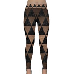 Triangle3 Black Marble & Bronze Metal Classic Yoga Leggings by trendistuff