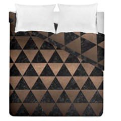 Triangle3 Black Marble & Bronze Metal Duvet Cover Double Side (queen Size)