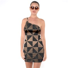 Triangle1 Black Marble & Bronze Metal One Shoulder Ring Trim Bodycon Dress by trendistuff
