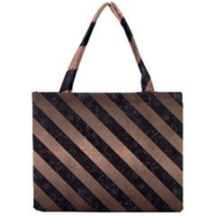 Stripes3 Black Marble & Bronze Metal (r) Mini Tote Bag by trendistuff