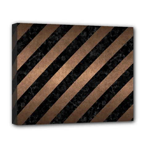 Stripes3 Black Marble & Bronze Metal Deluxe Canvas 20  X 16  (stretched) by trendistuff