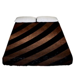 Stripes3 Black Marble & Bronze Metal Fitted Sheet (california King Size) by trendistuff