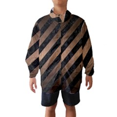 Stripes3 Black Marble & Bronze Metal Wind Breaker (kids) by trendistuff