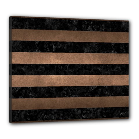 Stripes2 Black Marble & Bronze Metal Canvas 24  X 20  (stretched) by trendistuff