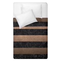 Stripes2 Black Marble & Bronze Metal Duvet Cover Double Side (single Size) by trendistuff