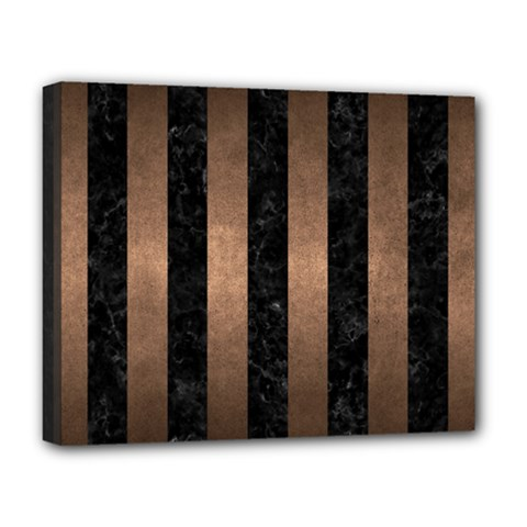 Stripes1 Black Marble & Bronze Metal Deluxe Canvas 20  X 16  (stretched) by trendistuff