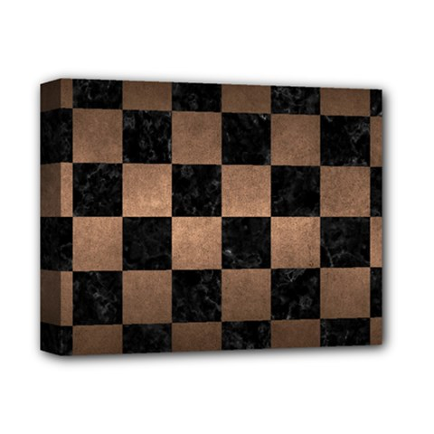 Square1 Black Marble & Bronze Metal Deluxe Canvas 14  X 11  (stretched) by trendistuff