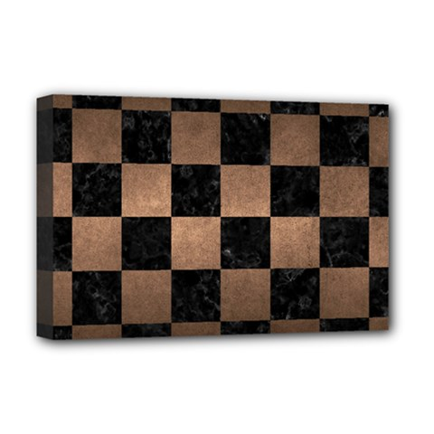 Square1 Black Marble & Bronze Metal Deluxe Canvas 18  X 12  (stretched) by trendistuff