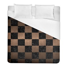 Square1 Black Marble & Bronze Metal Duvet Cover (full/ Double Size) by trendistuff