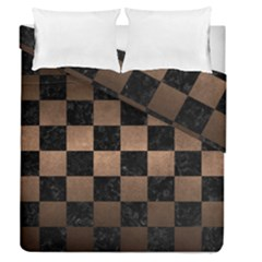 Square1 Black Marble & Bronze Metal Duvet Cover Double Side (queen Size) by trendistuff