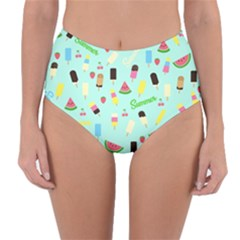 Summer Pattern Reversible High Waist Bikini Bottoms