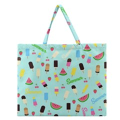 Summer Pattern Zipper Large Tote Bag by Valentinaart
