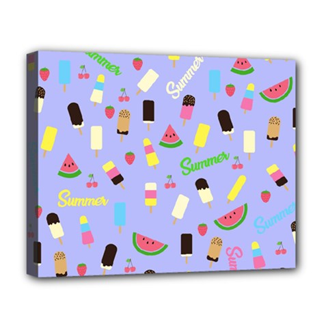 Summer Pattern Deluxe Canvas 20  X 16   by Valentinaart