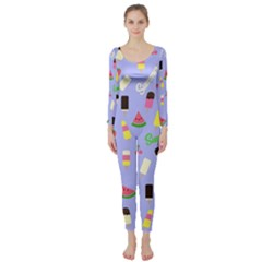 Summer Pattern Long Sleeve Catsuit