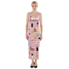 Summer Pattern Fitted Maxi Dress