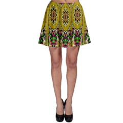 Rainbow And Stars Coming Down In Calm  Peace Skater Skirt by pepitasart