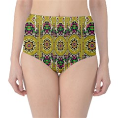 Rainbow And Stars Coming Down In Calm  Peace High Waist Bikini Bottoms by pepitasart