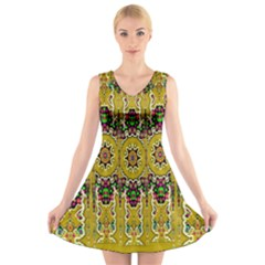 Rainbow And Stars Coming Down In Calm  Peace V Neck Sleeveless Skater Dress by pepitasart