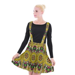 Rainbow And Stars Coming Down In Calm  Peace Suspender Skater Skirt by pepitasart