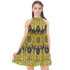 Rainbow And Stars Coming Down In Calm  Peace Halter Neckline Chiffon Dress  by pepitasart