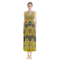 Rainbow And Stars Coming Down In Calm  Peace Button Up Chiffon Maxi Dress by pepitasart