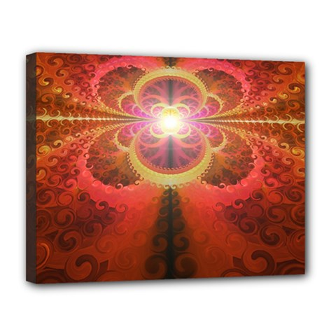 Liquid Sunset, A Beautiful Fractal Burst Of Fiery Colors Canvas 14  X 11