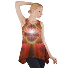 Liquid Sunset, A Beautiful Fractal Burst Of Fiery Colors Side Drop Tank Tunic