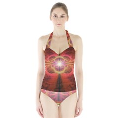Liquid Sunset, A Beautiful Fractal Burst Of Fiery Colors Halter Swimsuit