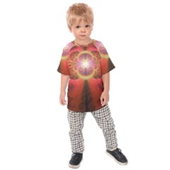 Liquid Sunset, A Beautiful Fractal Burst Of Fiery Colors Kids Raglan Tee