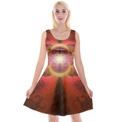 Liquid Sunset, A Beautiful Fractal Burst Of Fiery Colors Reversible Velvet Sleeveless Dress by jayaprime