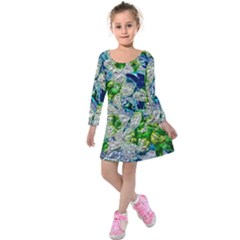 Floral Chrome 2a Kids  Long Sleeve Velvet Dress by MoreColorsinLife