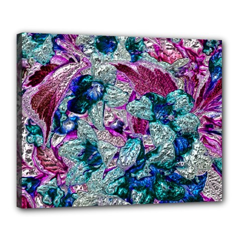 Floral Chrome 2c Canvas 20  X 16  by MoreColorsinLife