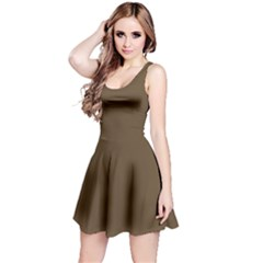 Brown Hide Solid Color  Reversible Sleeveless Dress