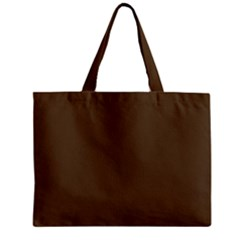 Brown Hide Solid Color  Zipper Mini Tote Bag by SimplyColor