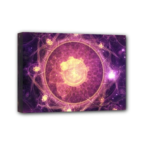 A Gold And Royal Purple Fractal Map Of The Stars Mini Canvas 7  X 5