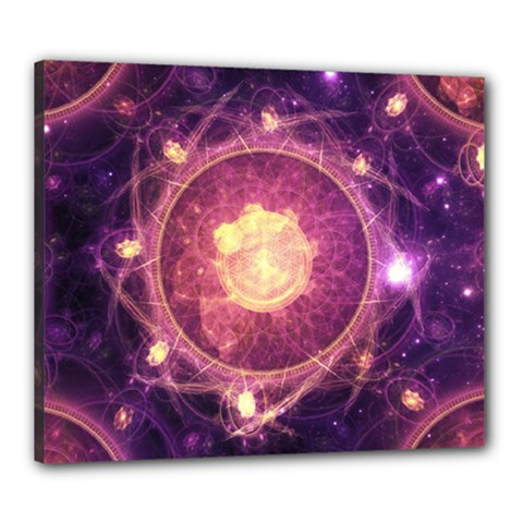 A Gold And Royal Purple Fractal Map Of The Stars Canvas 24  X 20