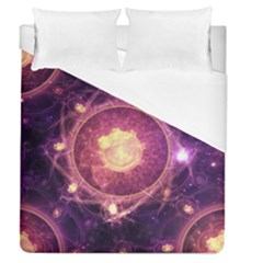 A Gold And Royal Purple Fractal Map Of The Stars Duvet Cover (queen Size)