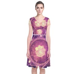 A Gold And Royal Purple Fractal Map Of The Stars Short Sleeve Front Wrap Dress