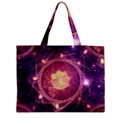A Gold And Royal Purple Fractal Map Of The Stars Medium Tote Bag by jayaprime
