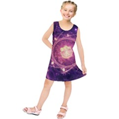 A Gold And Royal Purple Fractal Map Of The Stars Kids  Tunic Dress