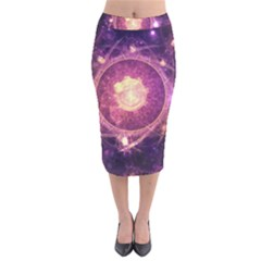 A Gold And Royal Purple Fractal Map Of The Stars Velvet Midi Pencil Skirt by jayaprime