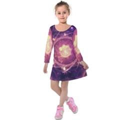 A Gold And Royal Purple Fractal Map Of The Stars Kids  Long Sleeve Velvet Dress